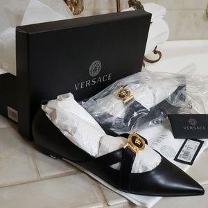 Versace black flats shoes. 100% authentic.  Never